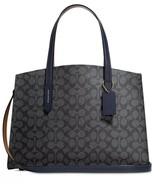 NWT COACH CHARLIE SIGNATURE CARRYALL SHOULDER BAG CHARCOAL MIDNIGHT NAVY - $188.09