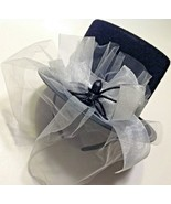 Black Tophat Steampunk Costume Accessory Silver Band Veil Spider Headband - $9.85