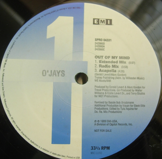 "The O'Jays - Out of My Mind - EMI SPRO-04331 - 12"" Single PROMO"