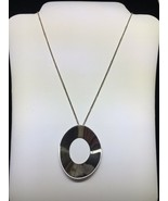 TIFFANY & CO. Frank Gentry Sterling Silver Open Oval Large Pendant Neckl... - $235.00