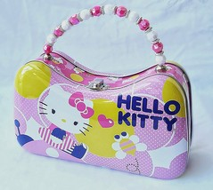 Hello Kitty Flower Tin Carry All Scoop Purse w/Beaded Handle - $9.80