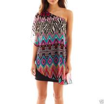 Bisou Bisou One-Shoulder Draped Dress New Size 4 Msrp $70.00 - $21.99