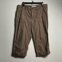 Ann Taylor Loft Women's Capri Brown 100% Cotton Cargo Pants Zip Closure ... - $21.78