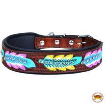 Strong Genuine Leather Dog Collar Padded Brown Aztec Hilason U-C119 - $29.99