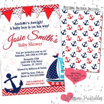 Nautical Classic Red Blue Boat Baby Shower Invitation PRINTABLE FREE tha... - $12.00