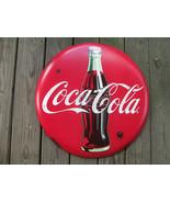 Coca-Cola Rustic 24 Inch Red Disc Button Sign Contour Bottle Script Logo - $54.45