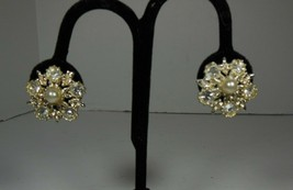 Rhinestone & Faux Pearl Floral Earrings - $7.91
