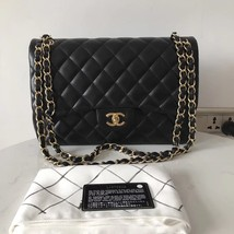 100% Authentic Chanel Black QUILTED LAMBSKIN JUMBO CLASSIC DOUTFLAP BAG Ghw image 1