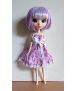 Pullip Jenny Momoko size Handmade Doll Cotton & Lace Dress Purple Bunnie... - $18.97