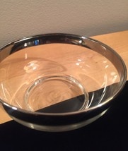 """Vintage 60s MCM Silver Ombre rimmed 4.75"""" small glass bowl image 6"""