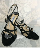 JIMMY CHOO Black Metallic Suede Strappy Sandal Heels Sz 38.5/US 8.5 $595 - $226.61
