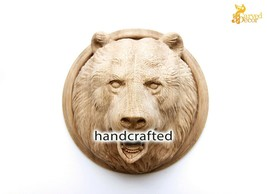 Wood Bear Face Hand-carved High Quality Mask Reproduction Rage Oak Beech... - $123.75+