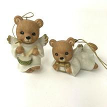 Vintage Set of 2 Homco #5721 Bear Christmas Angles Ornaments Figurines kitsch - $13.85