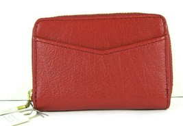 Fossil $40 NWT RFID Mini Zip Red Velvet Zipper Pouch Wallet Small Accordion New image 2