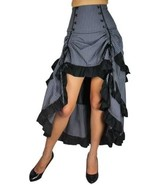Renacimiento 3 Capas Cola Falda Gris Gótico Victoriano Steampunk Sexy Punk - $79.74+