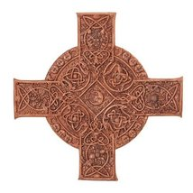 Elemental Celtic Cross Wall Sculpture Decor Wood Finish by Maxine Miller 11.25 I - $31.64