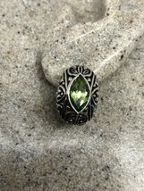 Vintage Green Peridot Earrings 925 Sterling Sivler Genuine Stone Stud - $114.84