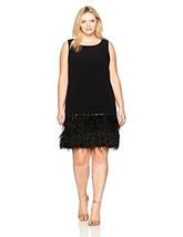 Tahari by Arthur S. Levine Women's Plus SZ Slvless Dress W/ Feather Trim - $171.97