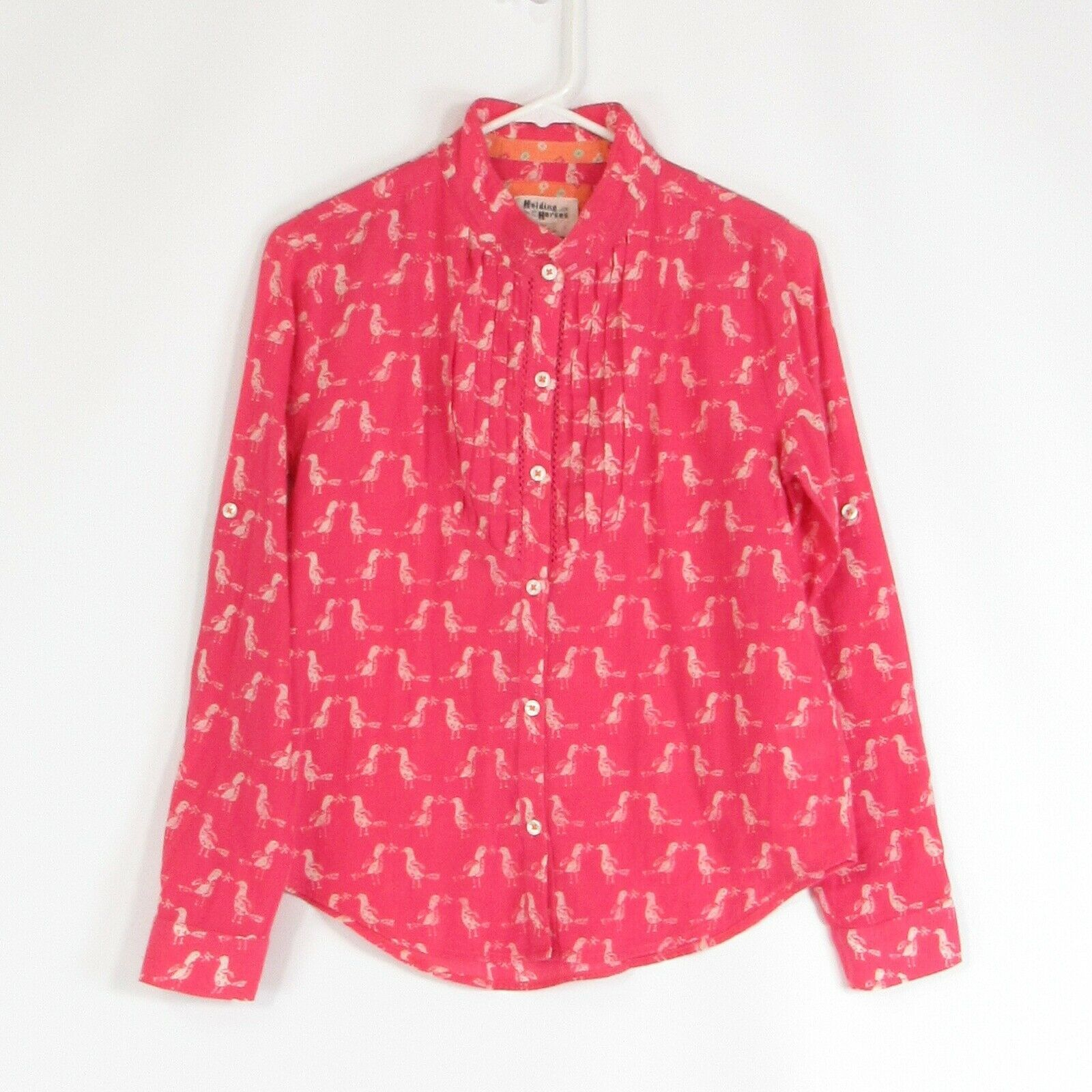 Primary image for Pink white birds 100% cotton HOLDING HORSES button down blouse 2