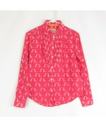 Pink white birds 100% cotton HOLDING HORSES button down blouse 2 - $34.99