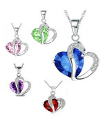 Fashion Women Heart Crystal Rhinestone  Silver Chain Pendant Necklace Charm - $12.99