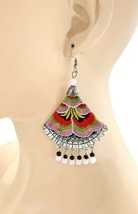 """4"""" Long Embroidered Multicolor Chandelier Earrings Pierced Ears Ethnic Everyday - $17.10"""