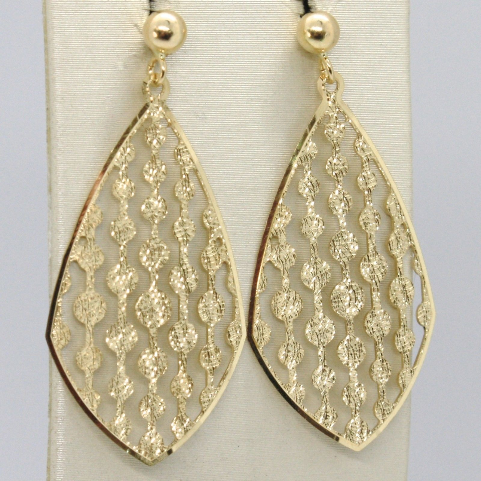 YELLOW GOLD EARRINGS 18K 750 HANGING DIAMOND PATTERN WORKED PERFORATED