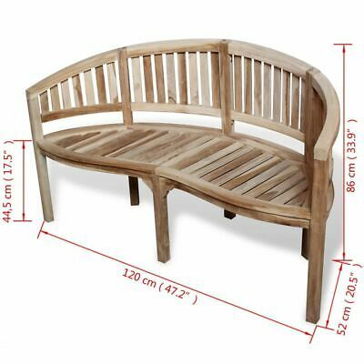 vidaXL Solid Teak Wood Bench Banana Shape 2-Seater Outdoor Garden Chair Seat image 6