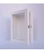 5x8 White Deep Wooden Shadow Box Frame with Glass Door, Memory Box, Home... - $49.00