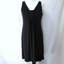 Talbots Knit Dress Womens Sz MP Solid Black Sleeveless Rayon Blend - $19.99