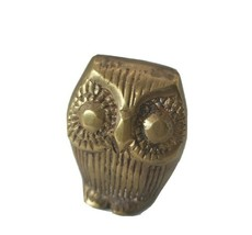 Vintage Heavy Brass Owl Bird Paperweight Decor Figurine - $20.78