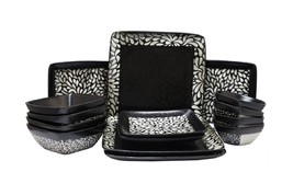 Chic Black Desert Bloom 16 Pc Stoneware Dinnerware Set Microwave Dishwas... - $99.98