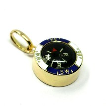 "18K YELLOW GOLD WORKING COMPASS PENDANT, DIAMETER 1.4 CM, 0.55"", SOLID, ENAMEL image 1"