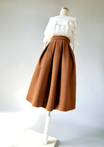 Yellow Wool Midi Skirt Outfit High Waist A-line Winter Midi Party Skirt image 7