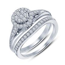 14k White Gold Plated Round Cut Sim Diamond Bridal Engagement Women's Ring Set - $42.99