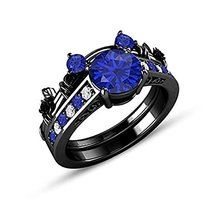 Round Blue Sapphire & CZ Dai 14K Black Gold Over Silver Bridal Wedding Ring Set - $99.99