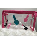 New Clear Ladies Pink Zip Air Travel Clutch Cosmetic Makeup Beauty Bag - $5.93