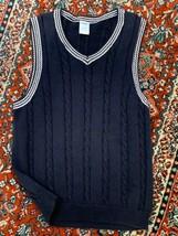 Gymboree Boys 7 8 10 M Navy Blue White Stripe Cable Knit Vest Sleeveless Euc - $12.00