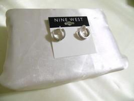 """Nine West 2"""" Silver Tone Cubic Zirconia Hoop Earrings E931 - $9.59"""