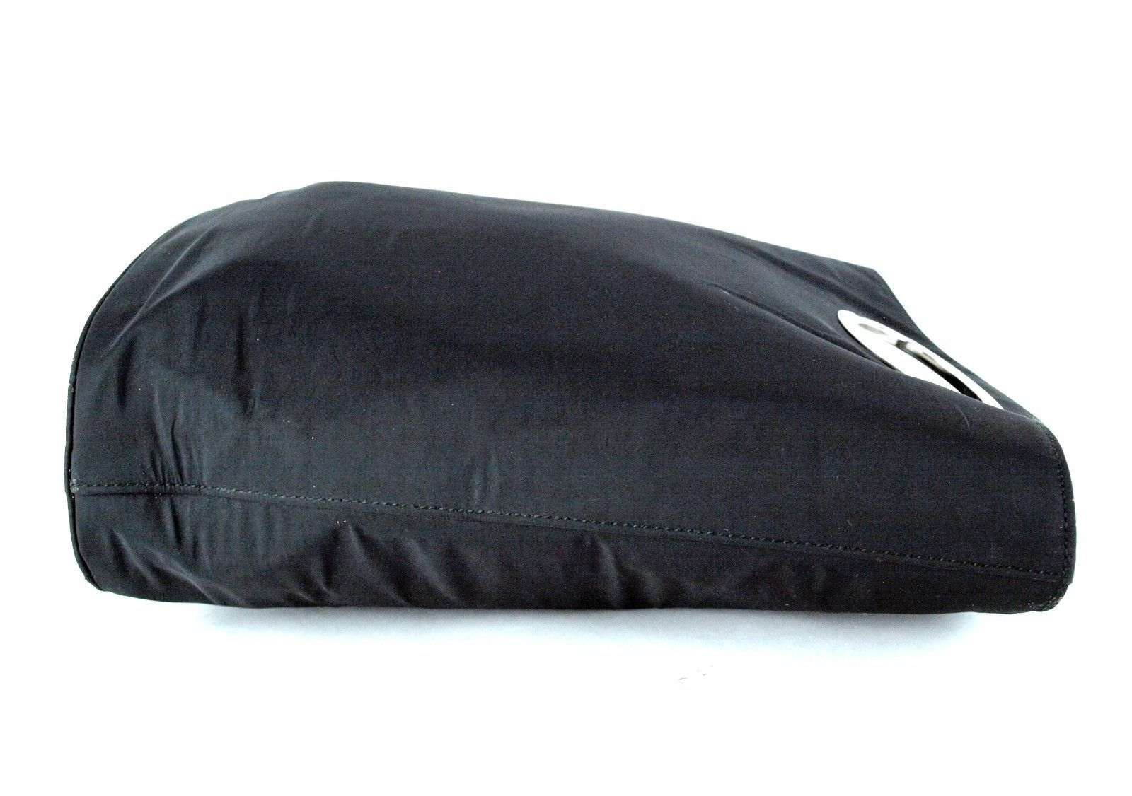 Authentic GUCCI Black Nylon Double Chamber Hand Bag Handbag Purse Italy