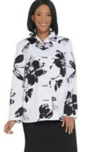 Dennis Basso Printed Button Jacket Ruched Collar,Black/White ,Size L , A... - $45.53