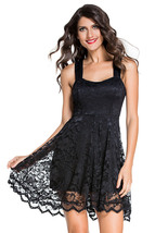 Black Lace Party Skater Dress - Free Shipping US - $29.95