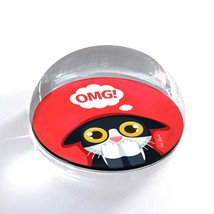 """OMG Cartoon Cat Illustration Art Gift 2"""" Crystal Dome Magnet or Paperweight - $15.99"""