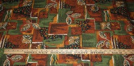 3 3/4 Yards Galey & Lord Tribal Leaves Cotton Fabric Brown Black Green New - $33.66