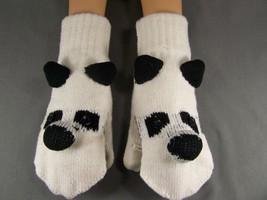 Black White Panda Bear convertible flip open thumb mittens gloves texting - $13.85