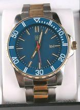 I.N.C. Men's 44mm Gold Silver Two-Tone Bracelet w Blue Dial Date Wrist Watch NIB image 3