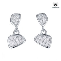 Drop Stud Earring For Women's Diamond White Gold Plated Pure 925 Sterling Silver - $44.99