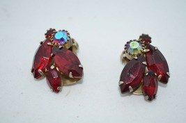 Vintage Weiss Red Baquette Rhinestone Earrings Clip On Signed - $22.80