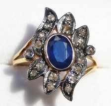 Victorian 0.40ct Rose Cut Diamond Blue Sapphire Christmas Engagement Ring - $452.54