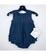 Burt's Bees 0-3 Months One Piece Blue Ruffle Snap Buttons Organic Cotton... - $17.99